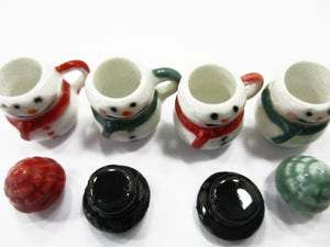 Dollhouse Miniature NEW 4 Snowman Ceramic Cup Mug Christmas Supply Charms 15534
