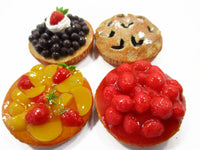 Dollhouse Miniatures Food Bakery 4 Different Mixed Pie Fruit Tart Cake 15535