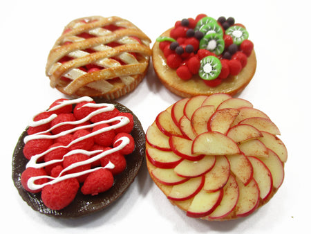 Dollhouse Miniatures Food Bakery 4 Different Mixed Pie Fruit Tart Cake 15536