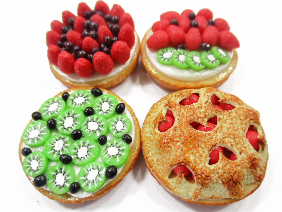 Dollhouse Miniatures Food Bakery 4 Different Mixed Pie Fruit Tart Cake 15537