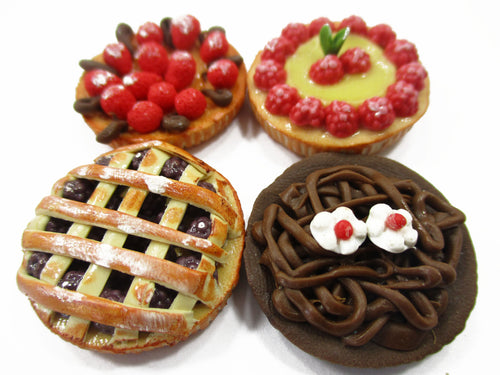 Dollhouse Miniatures Food Bakery 4 Different Mixed Pie Fruit Tart Cake 15538