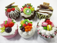 NEW Dollhouse miniature Food 6 Mixed Fruit Flower Cake Mini Tiny Bakery 15539
