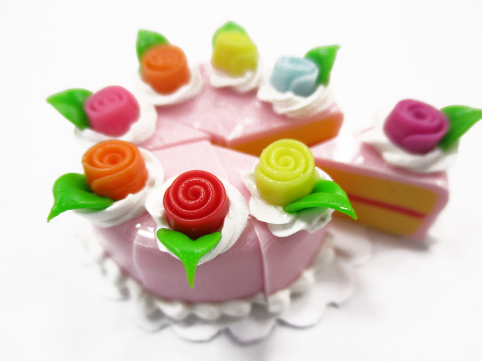 Dollhouse Miniatures Food 8 Cuts Slice Strawberry Cake Rose Flower Supply 15550