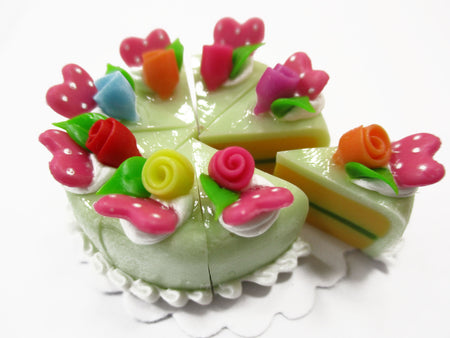 Dollhouse Miniatures Food 8 Cuts Slice Green Cake Rose Flower Supply 15553