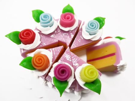 Dollhouse Miniature Food 8 Cut Slice Lilac Cake Rose Flower Topping Supply 15554