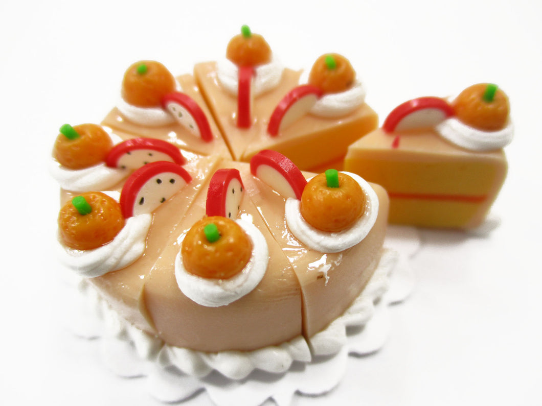Dollhouse Miniatures Food 8 Cuts Slice Orange 3 Cm Cake Fruit Topping 15561