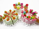Dollhouse Miniature Food 24 Slices Cake Mixed Color Rose Flower Fruit Top 15565