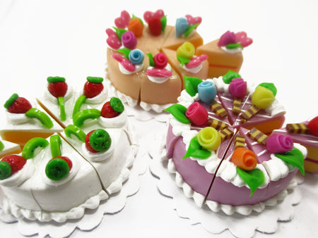 Dollhouse Miniature Food 24 Slices Cake Assorted Color Rose Flower Fruit 15572