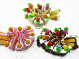Dollhouse Miniature Food 24 Cuts Cake Mixed Color Rose Flower Fruit Top 15575