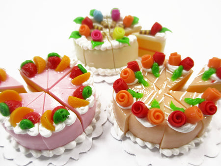 Dollhouse Miniature Food 24 Slices Cake Assorted Color Rose Flower Fruit 15576