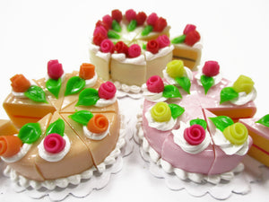 Dollhouse Miniature Food 24 Cuts Cake Assorted Color Rose Flower Topping 15577