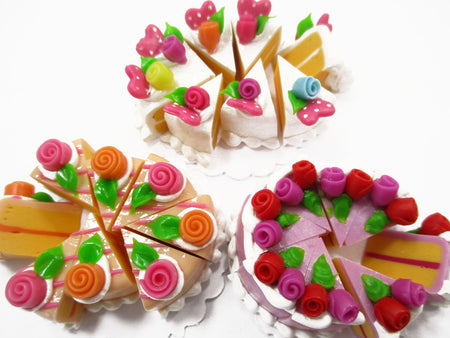 Dollhouse Miniature Food 24 Slices Cake Assorted Color Rose Flower Topping 15579