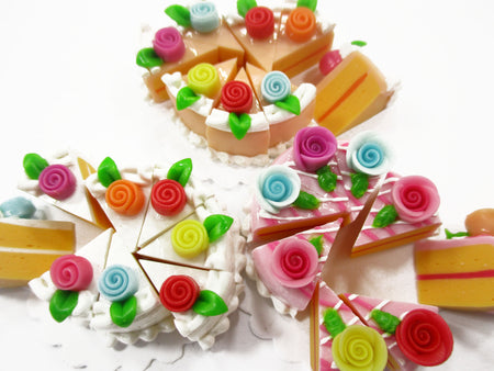 Dollhouse Miniature Food 24 Slices Cake Mixed Color Rose Flower Topping 15580