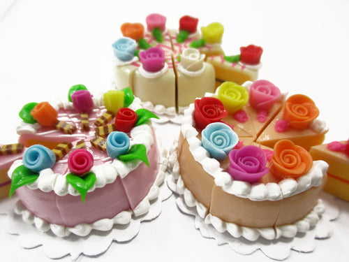 Dollhouse Miniature Food 24 Cuts Cake Assorted Color Rose Flower Topping 15581