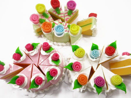 Dollhouse Miniature Food 24 Slices Cake Assorted Color Rose Flower Topping 15583