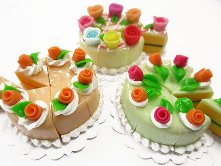 Dollhouse Miniature Food 24 Slices Cake Mixed Color Rose Flower Topping 15584