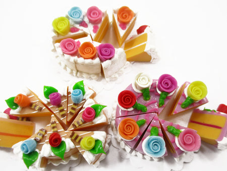 Dollhouse Miniature Food 24 Cuts Cake Mixed Color Rose Flower Topping 15586