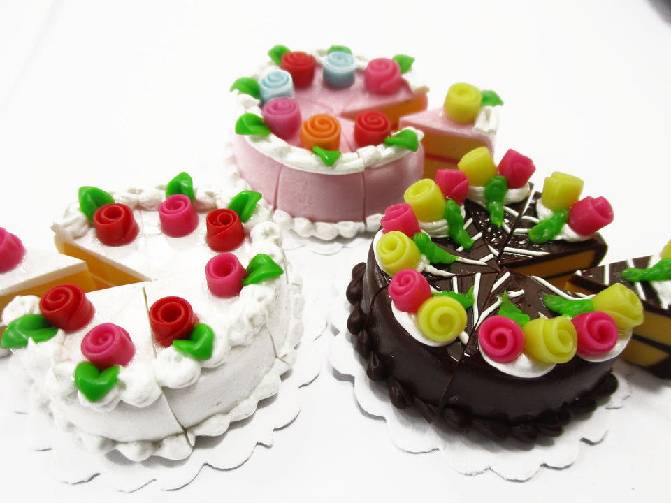 Dollhouse Miniature Food 24 Slices Cake Assorted Color Rose Flower Topping 15587