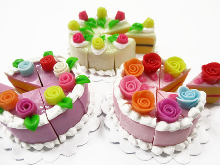 Dollhouse Miniature Food 24 Slices Cake Mixed Color Rose Flower Topping 15588
