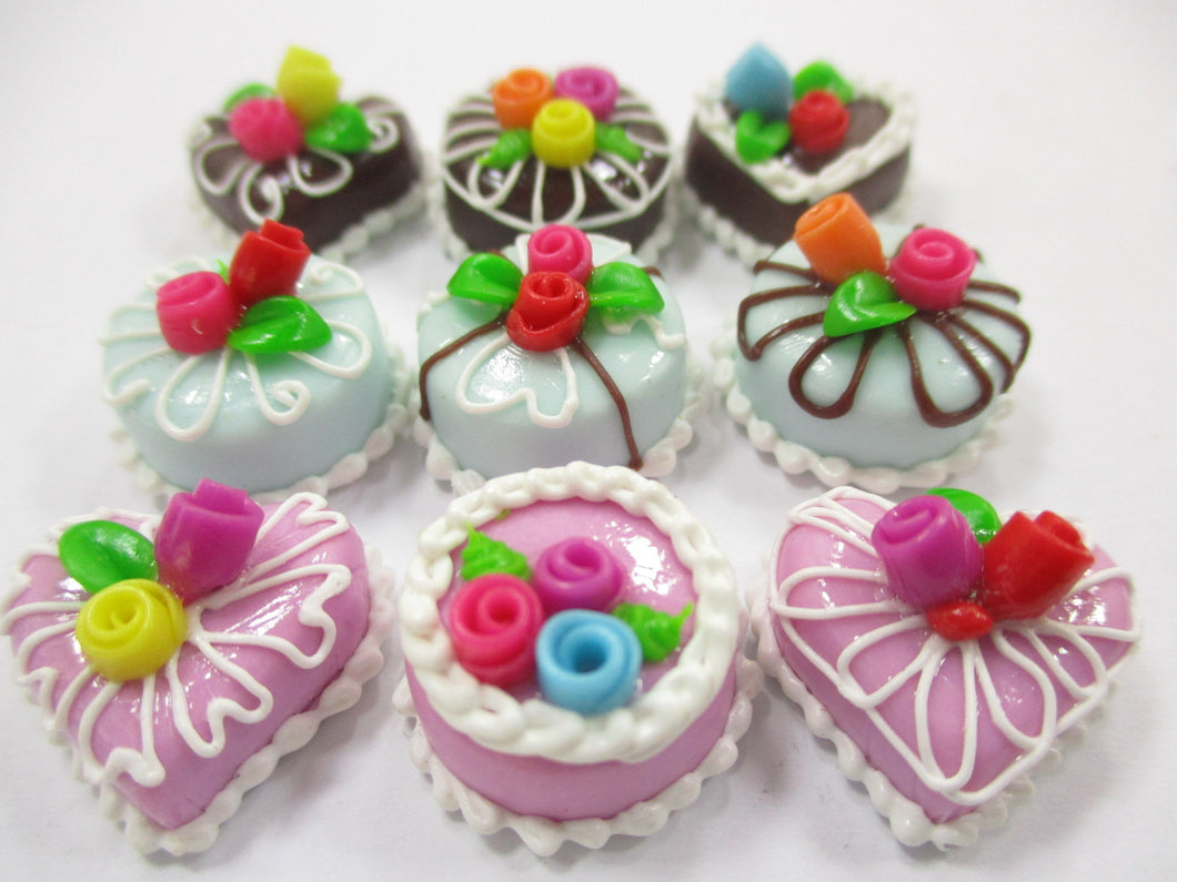 Dollhouse Miniatures Food Cakes 9 Assorted Color Flower Cake 1.5 cm Supply 15589