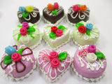 Dollhouse Miniature Food Cakes 9 Assorted Color Rose Cake 1.5 cm Supply 15594