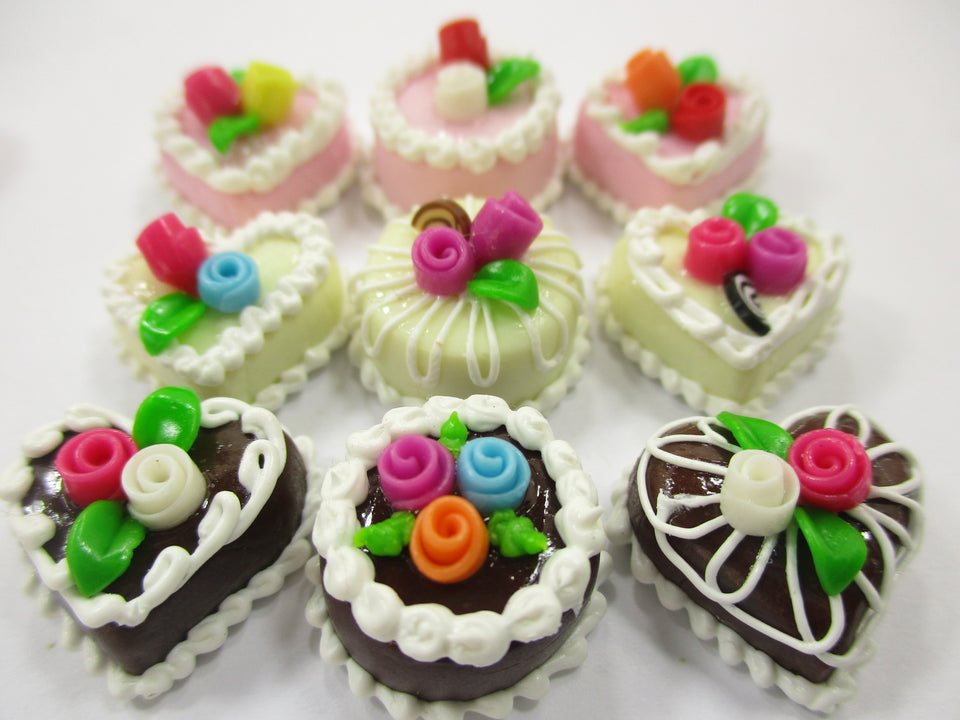 Dollhouse Miniature Food Cakes 9 Assorted Color Rose Cake 1.5 cm Supply 15597