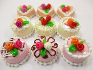 Dollhouse Miniature Food Cakes 9 Assorted Color Rose Cake 1.5 cm Supply 15598