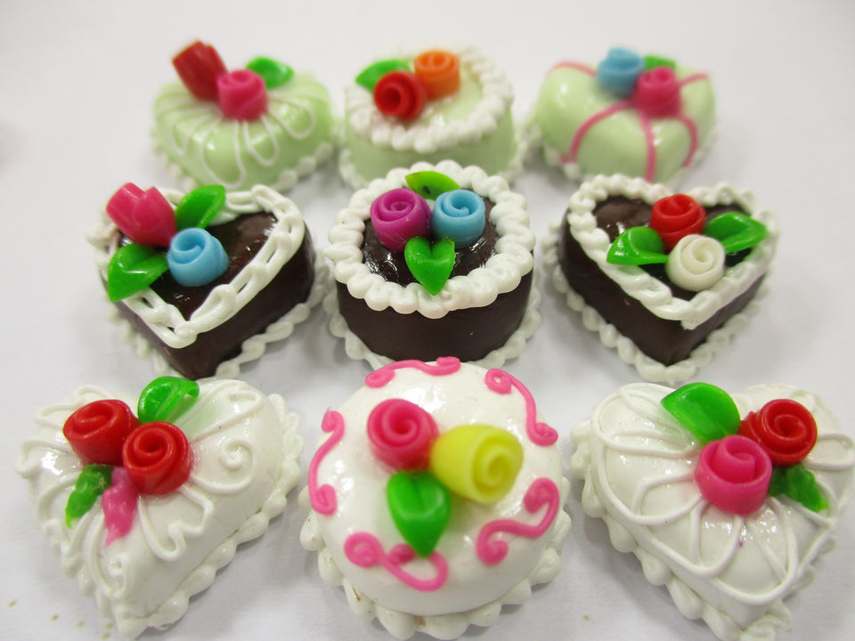 Dollhouse Miniature Food Cakes 9 Mixed Color Rose Flower Cake 1.5 cm 15600