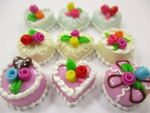 Dollhouse Miniatures Food Cakes 9 Mixed Color Rose Flower Cake 1.5 cm 15602