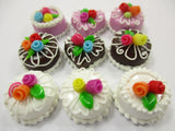 Dollhouse Miniatures Food Cakes 9 Mixed Color Rose Flower Cake 1.5 cm 15607