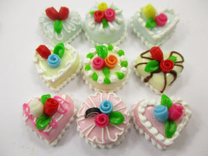 Dollhouse Miniatures Food Cakes 9 Assorted Rose Flower Cake 1.5 cm Supply 15609
