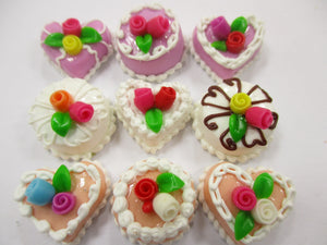 Dollhouse Miniatures Food Cakes 9 Mixed Color Rose Flower Cake 1.5 cm 15610