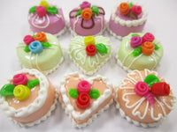 Dollhouse Miniatures Food Cakes 9 Assorted Rose Flower Cake 1.5 cm Supply 15614