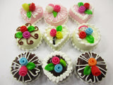 Dollhouse Miniatures Food Cakes 9 Mixed Color Rose Flower Cake 1.5 cm 15615