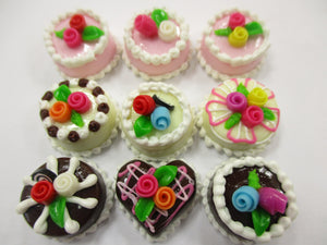 Dollhouse Miniatures Food Cakes 9 Assorted Rose Flower Cake 1.5 cm Supply 15616