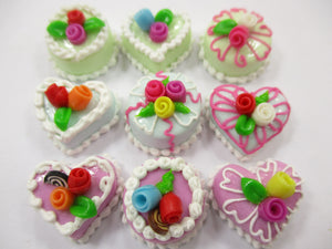 Dollhouse Miniatures Food Cakes 9 Chocolate Rose Flower Cake 1.5 cm Supply 15617