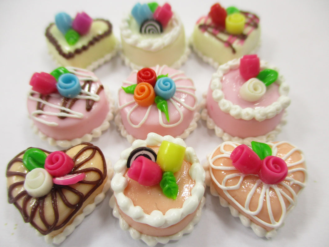 Dollhouse Miniatures Food Cakes 9 Assorted Rose Flower Cake 1.5 cm Dessert 15618