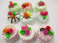 Dollhouse Miniature Food Cakes 9 Mix Color Rose Flower Cake 1.5 cm Dessert 15619
