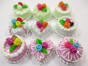 Dollhouse Miniatures Food Cakes 9 Assorted Rose Flower Cake 1.5 cm Supply 15620