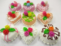 Dollhouse Miniatures Food Cakes 9 Mixed Color Rose Flower Cake 1.5 cm 15621
