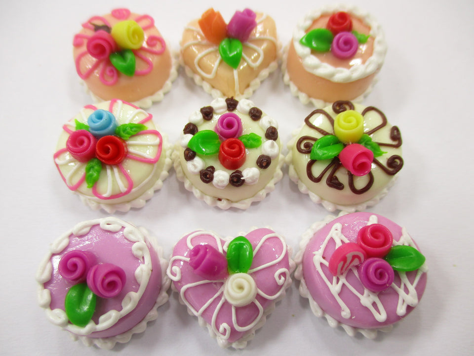 Dollhouse Miniatures Cakes 9 Mix Color Flower Cake 1.5 cm Dessert Supply 15624