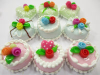 Dollhouse Miniatures Food Cakes 9 Assorted Rose Flower Cake 1.5 cm Dessert 15627
