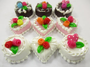 Dollhouse Miniatures Food Cakes 9 Mixed Color Rose Flower Cake 1.5 cm 15629