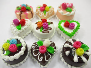 Dollhouse Miniatures Food Cakes 9 Mixed Color Rose Flower Cake 1.5 cm 15630