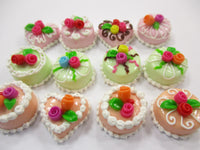 Dollhouse Miniature Food Cakes 12 Mixed Color Cake Flower 1.5 cm Supply 15631