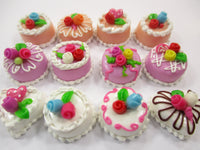 Dollhouse Miniature Food Cakes 12 Assorted Color Rose Cake 1.5 cm Supply 15632