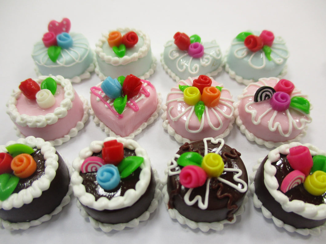 Dollhouse Miniature Food Cakes 12 Assorted Mixed Color Rose Cake 1.5 cm 15634
