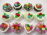 Dollhouse Miniature Food Cakes 12 Mixed Color Flower Cake 1.5 cm Supply 15635