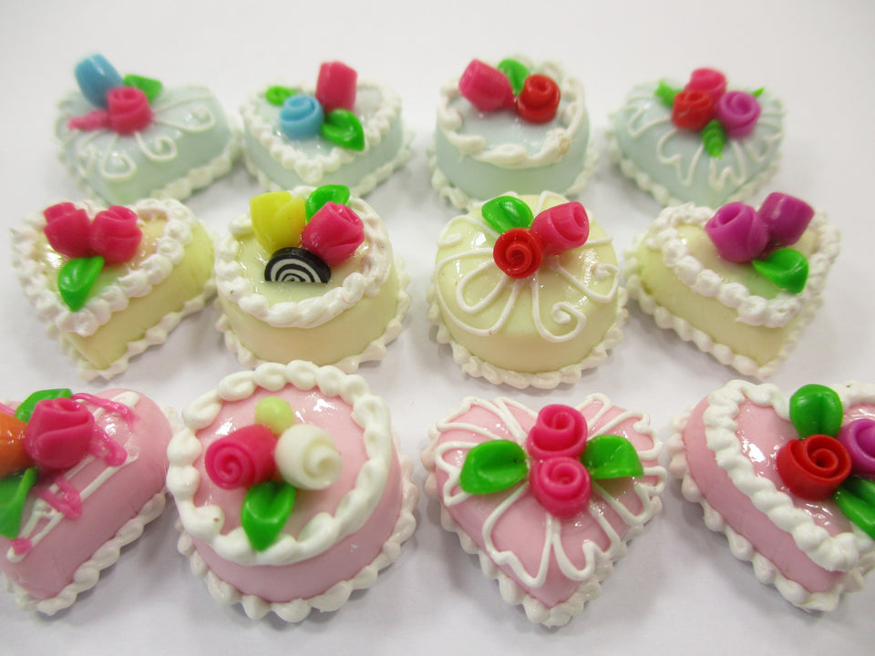 Dollhouse Miniatures Food Cakes 12 Mixed Color Flower Cake 1.5 cm Supply 15639