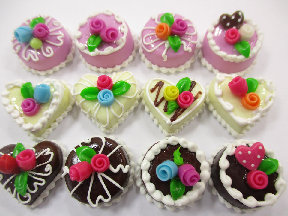 Dollhouse Miniatures Food Cakes 12 Mixed Color Mini Rose Cake 1.5 cm 15647